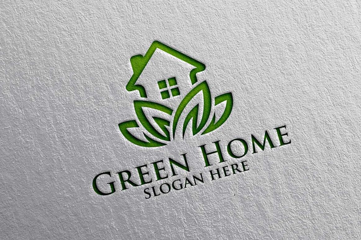 Real estate Logo, Green Home Logo 18 example image 3