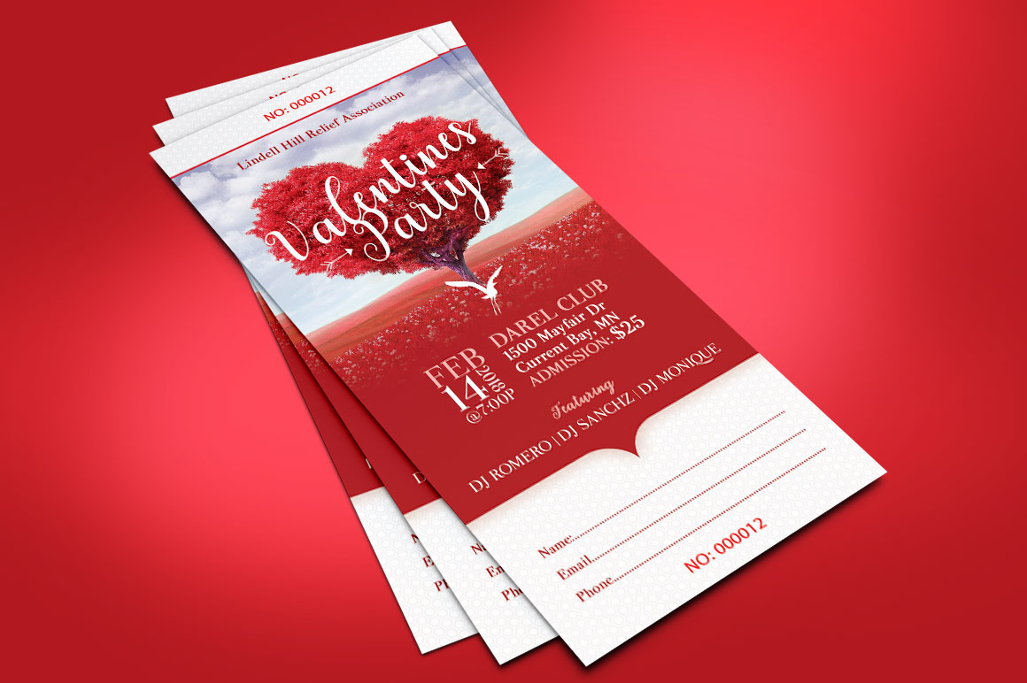 Tree Heart Valentines Party Ticket Template example image 3