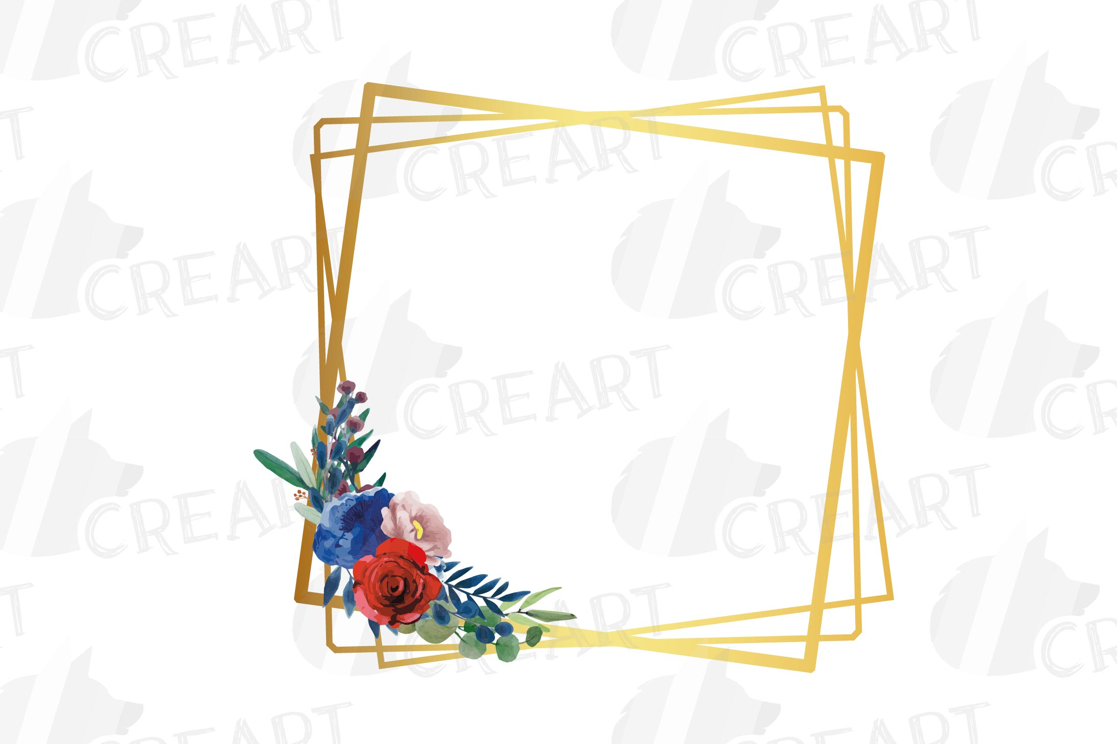 Watercolor elegant floral borders clip art. Wedding frames example image 4