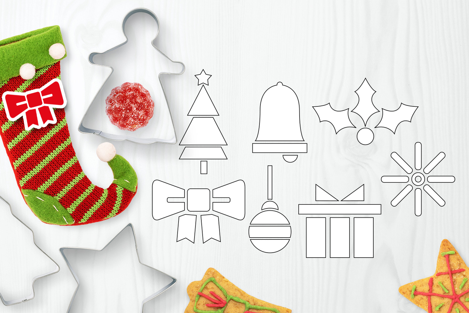Bundle - Christmas ornaments and Gingerbread Graphics example image 11