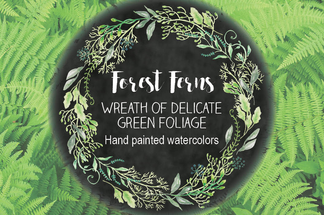 Watercolor wreath of delicate foliage example image 1
