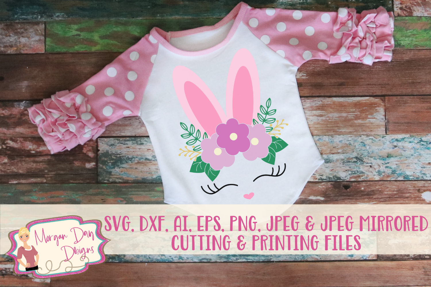Floral Bunny Face - Easter SVG, DXF, AI, EPS, PNG, JPEG example image 1