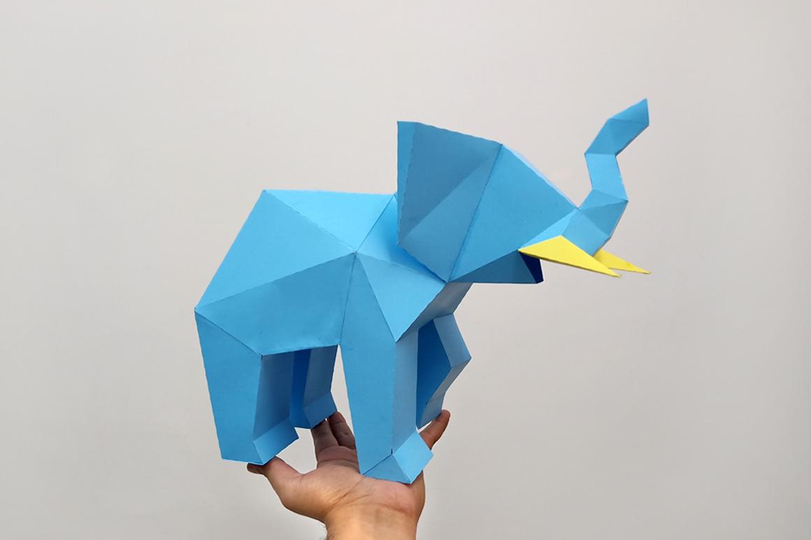 DIY Elephant Sculpture - 3d papercraft example image 2