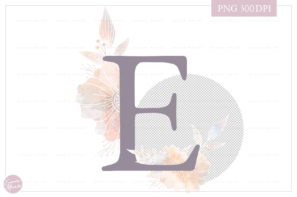 MONOGRAM Letter E Elegant Floral Monogram - Flower alphabet example image 2