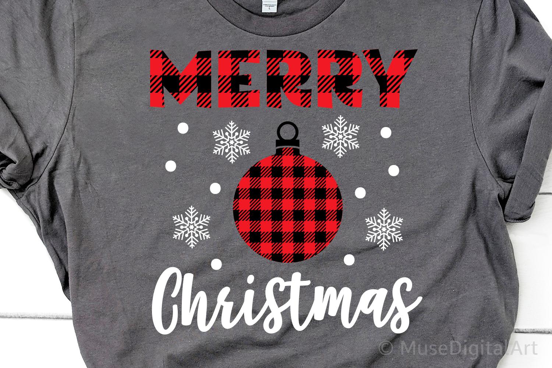 Merry Christmas Svg, Buffalo Plaid Svg, Buffalo Plaid Orname example image 1