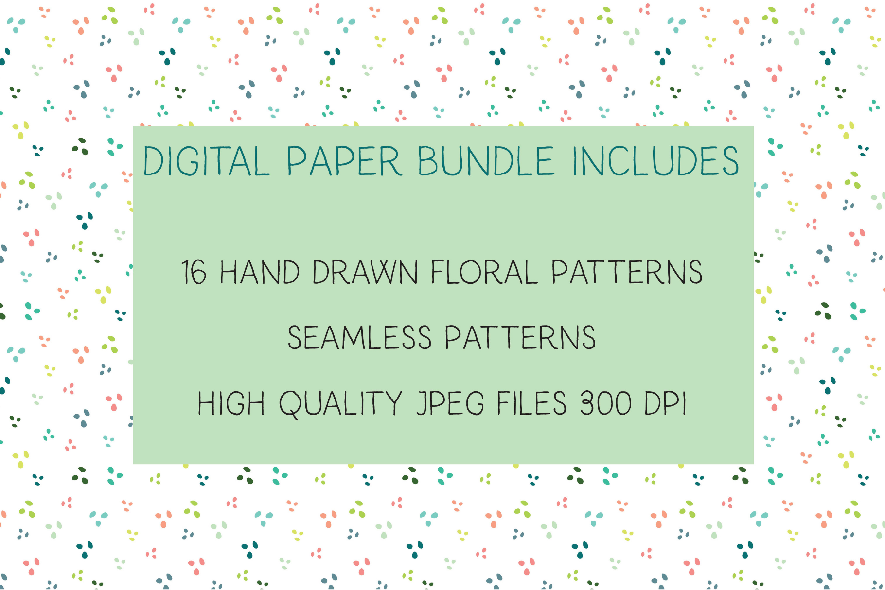 Coral and Mint Floral Digital Paper example image 4