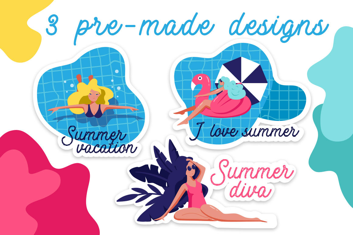 Summer pool - vector set example image 5