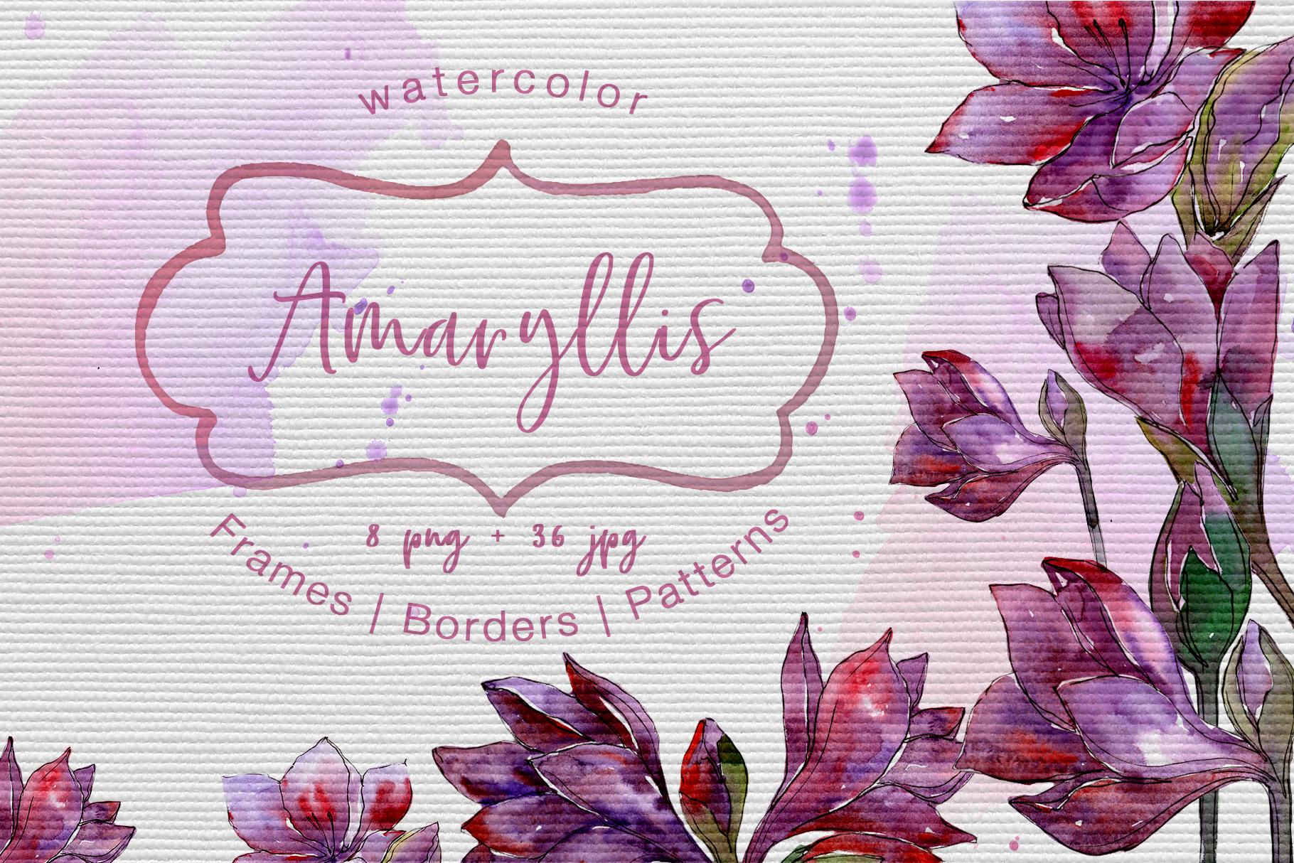 Purple amaryllis PNG watercolor set example image 1