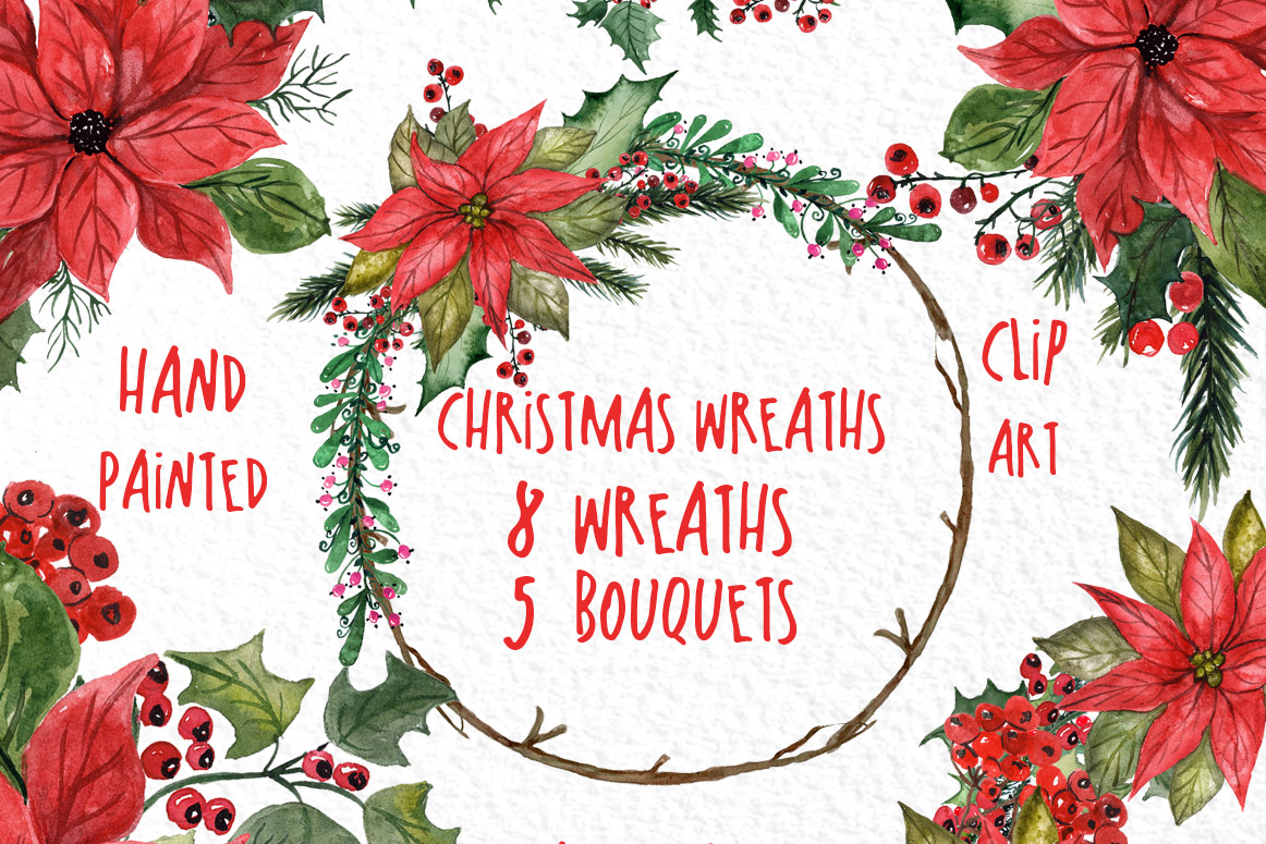 Watercolor Christmas Wreaths Clipart example image 1