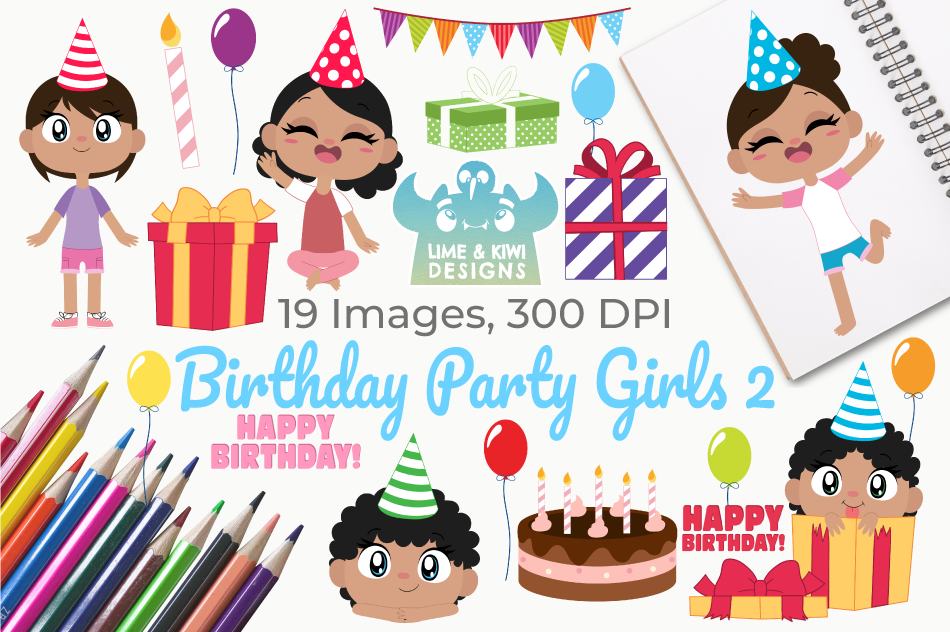 Birthday Party Girls 2 Clipart, Instant Download Vector Art example image 1