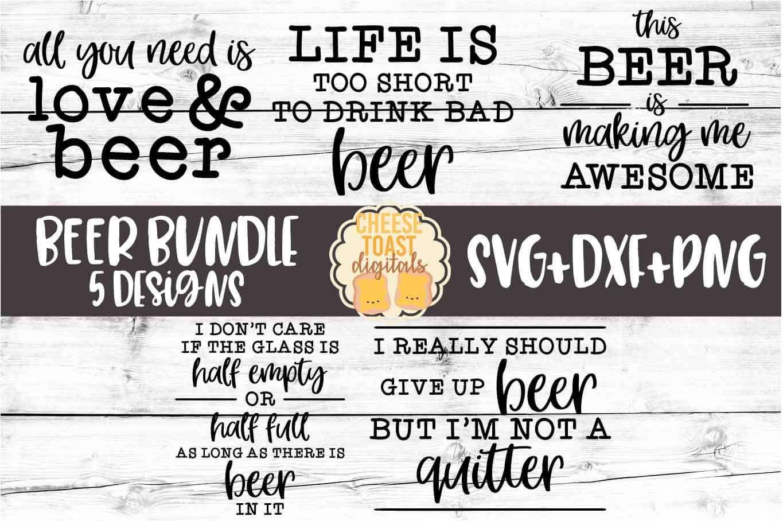 Beer Sign Bundle - 5 Designs SVG PNG DXF Cut Files example image 1