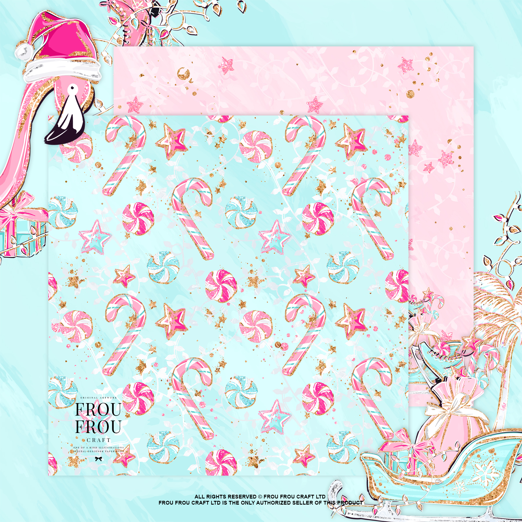 Pink Flamingo Christmas Presents Glitter Paper Pack example image 7