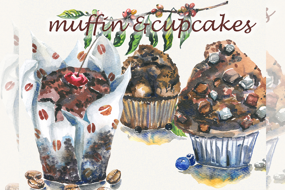 Muffin clipart, Cake clipart, watercolor cupcake clipart example image 1