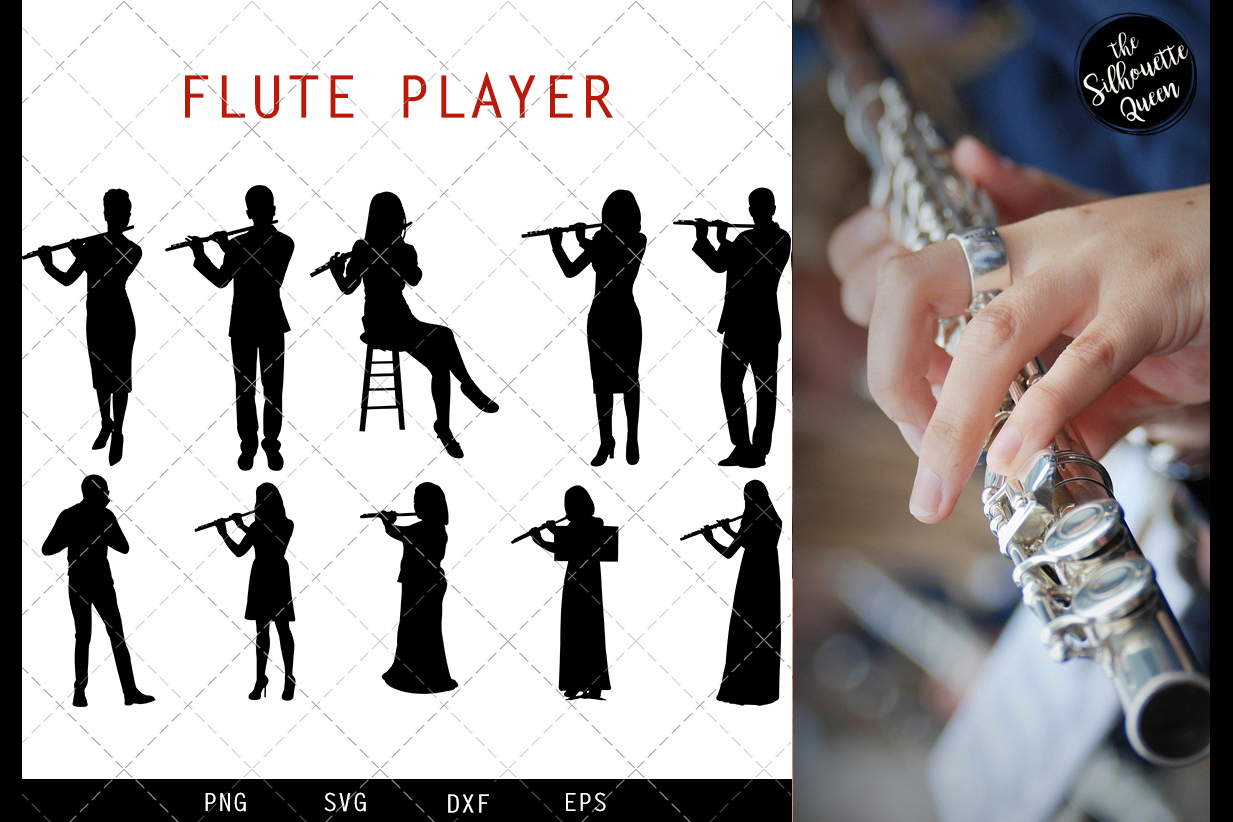 Flute Player svg file, musician svg cut file example image 1