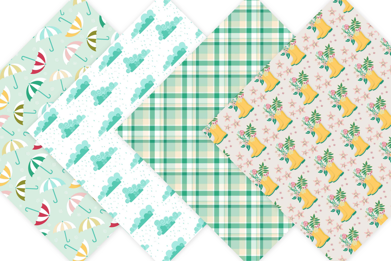 Spring Digital Paper Pack - Spring Showers example image 3