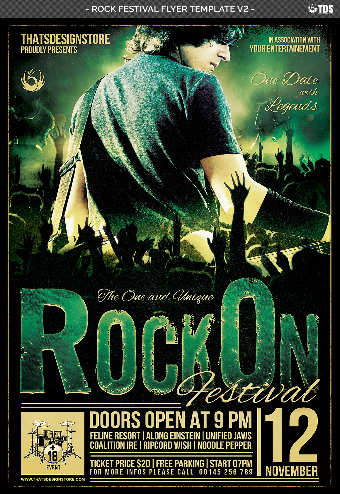 Rock Festival Flyer Template V2 example image 4
