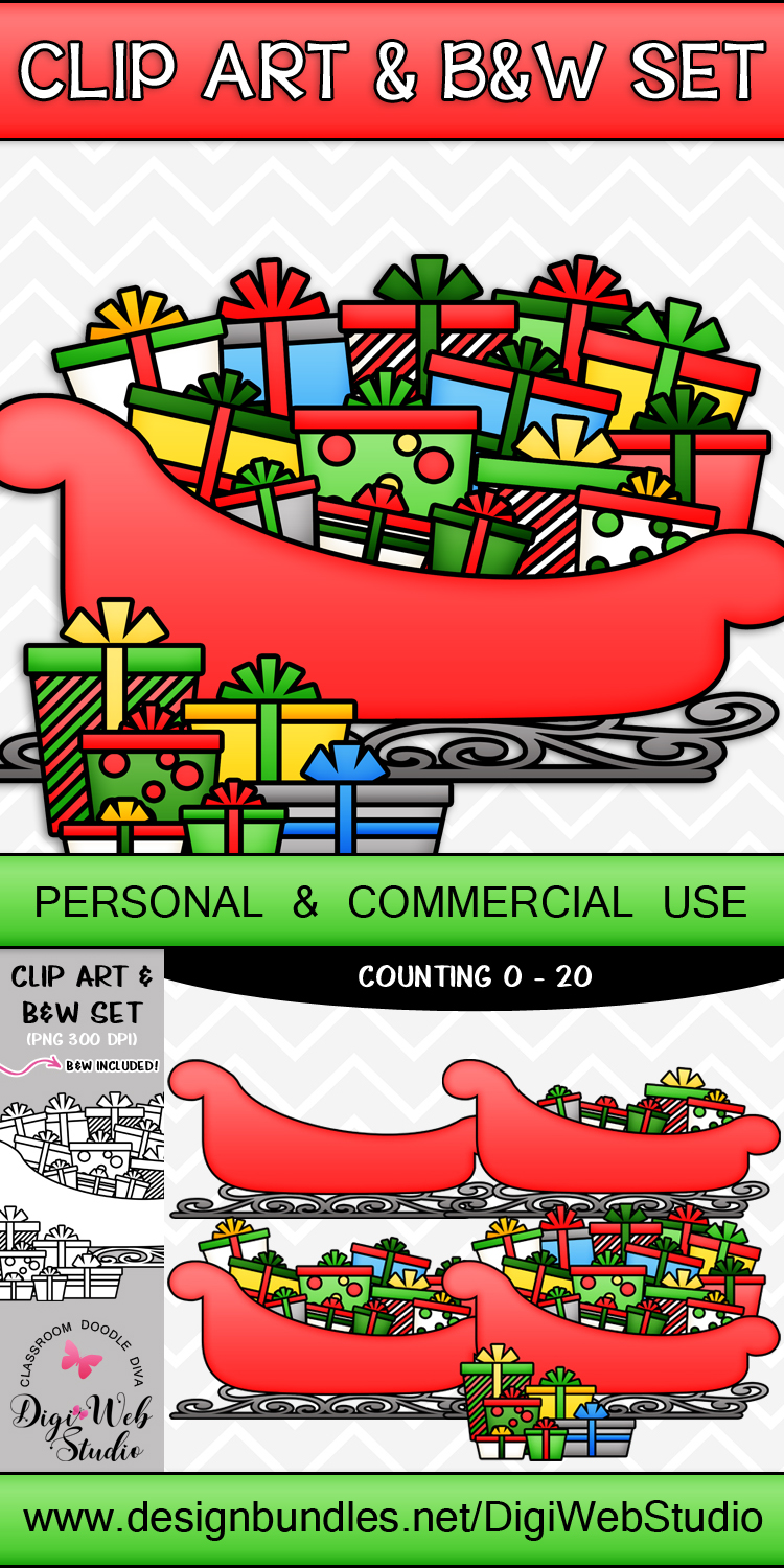 Clip Art / Illustrations - 0-20 Counting Christmas Presents example image 2