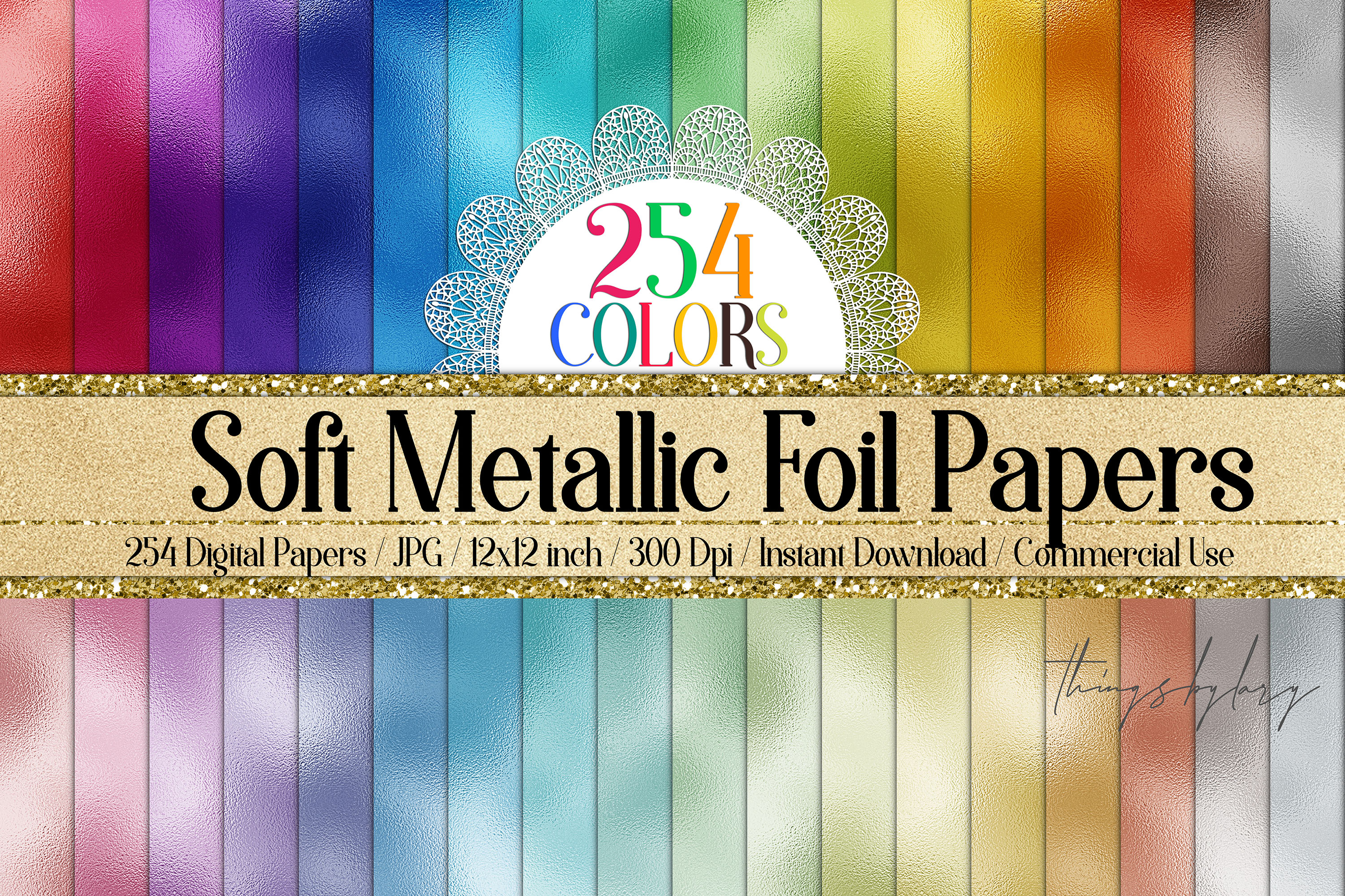254 Soft Color Metallic Foil Texture Printable Digital Paper example image 1