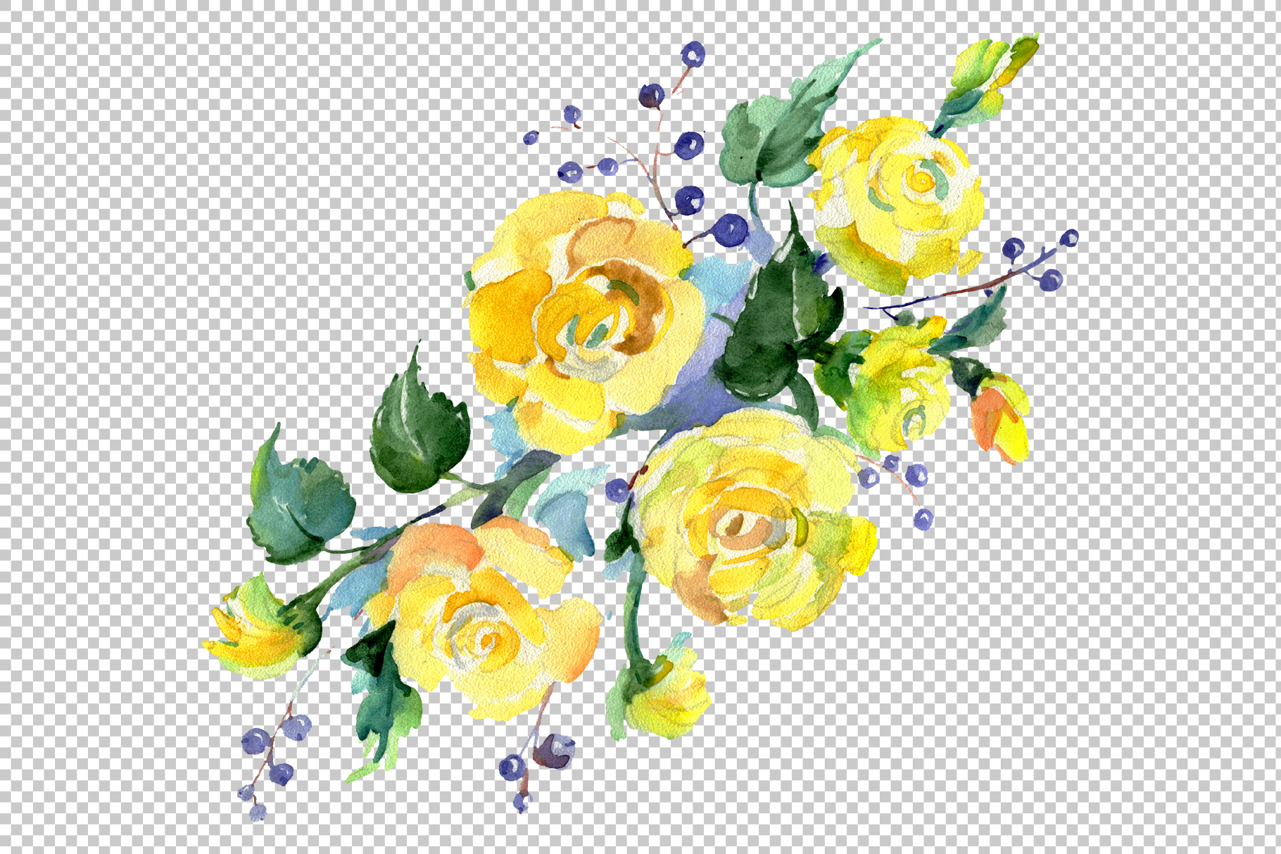 Bouquet of flowers matures feelings watercolor png example image 5