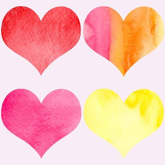 Watercolor hearts clipart example image 4