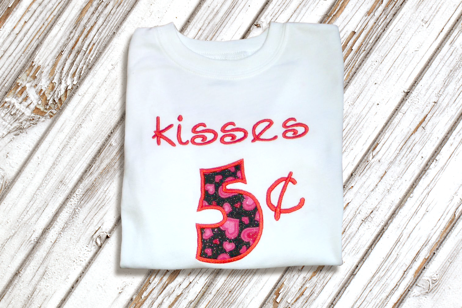 Kisses 5 Cents Valentine's Day Applique Embroidery Design example image 1