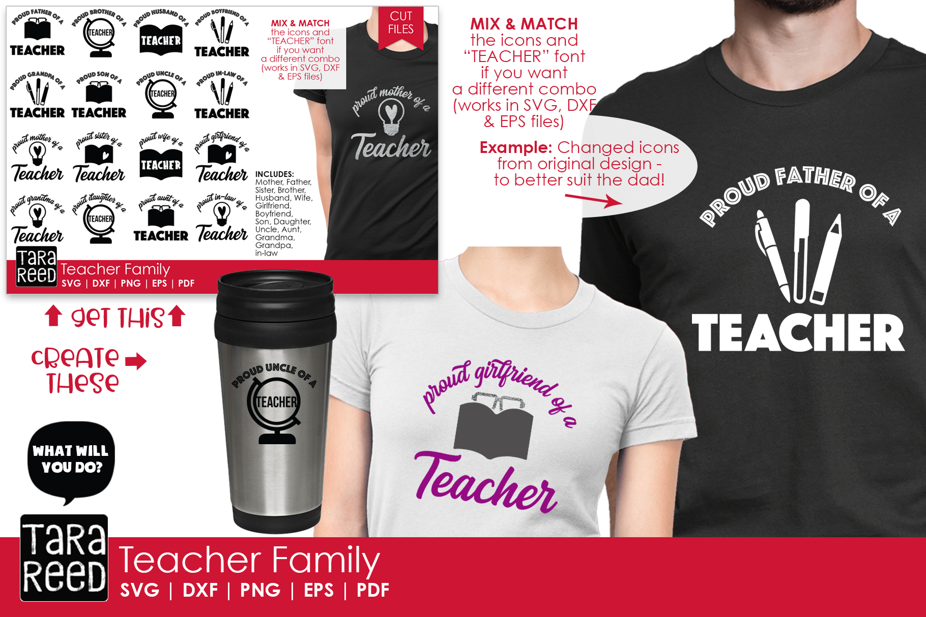 Teacher Family - School SVG and Cut Files for Crafters example image 2