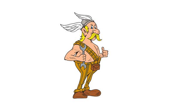 Viking Repairman Spanner Thumbs Up Cartoon example image 1