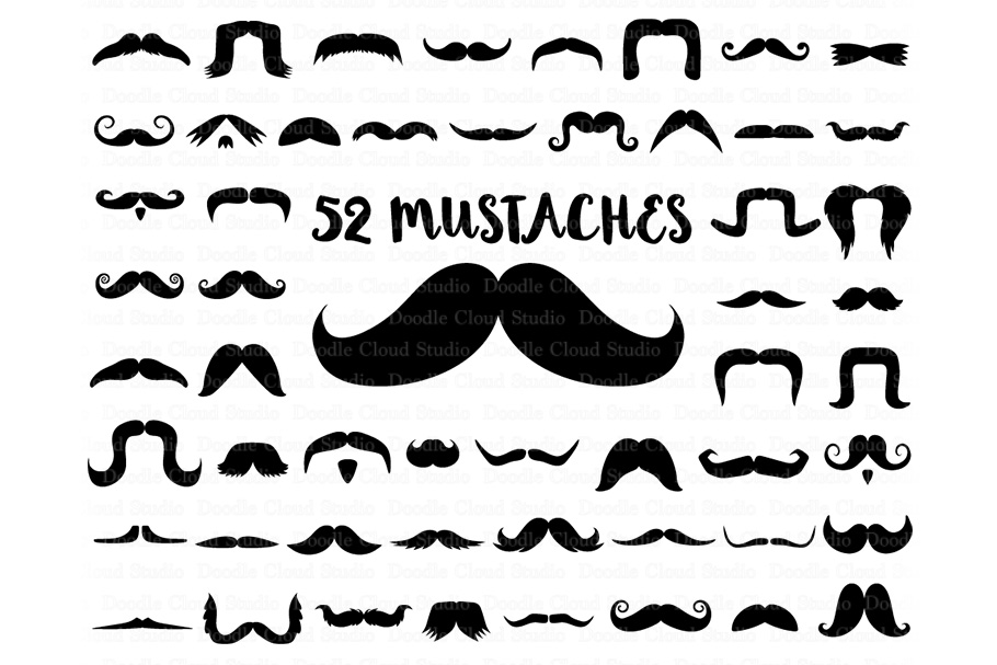Mustaches SVG Files, Mustache SVG Files, Mustache Clipart, example image 1