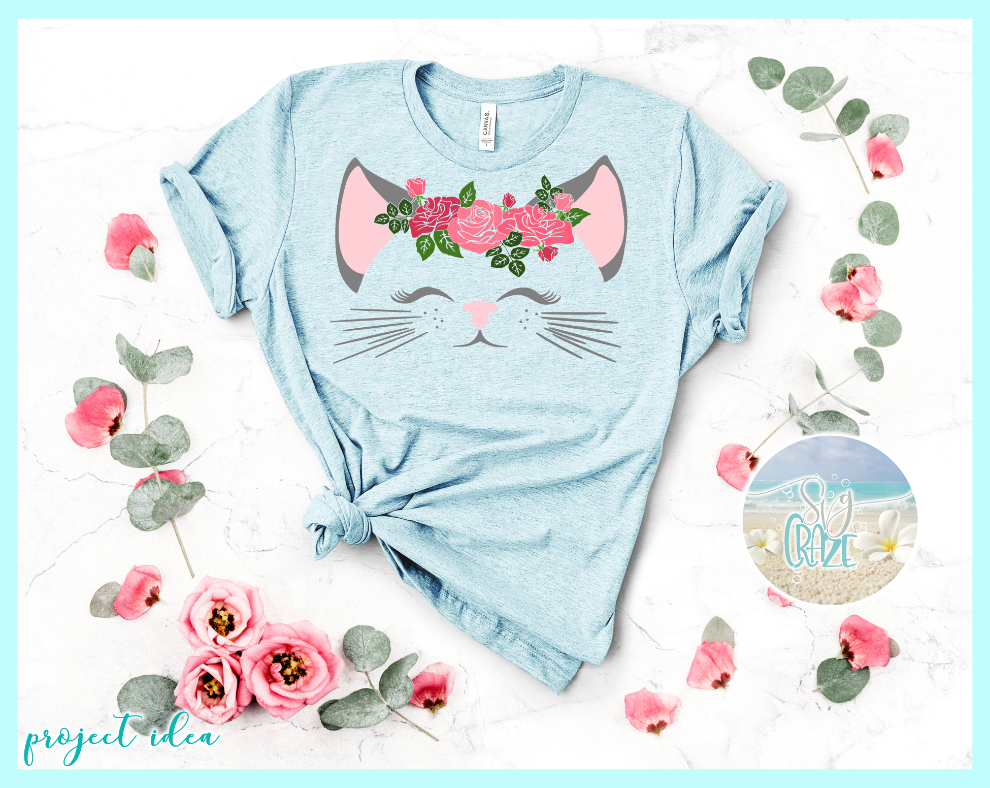 Cat Face With Roses Svg Dxf Eps Png Pdf Files example image 3