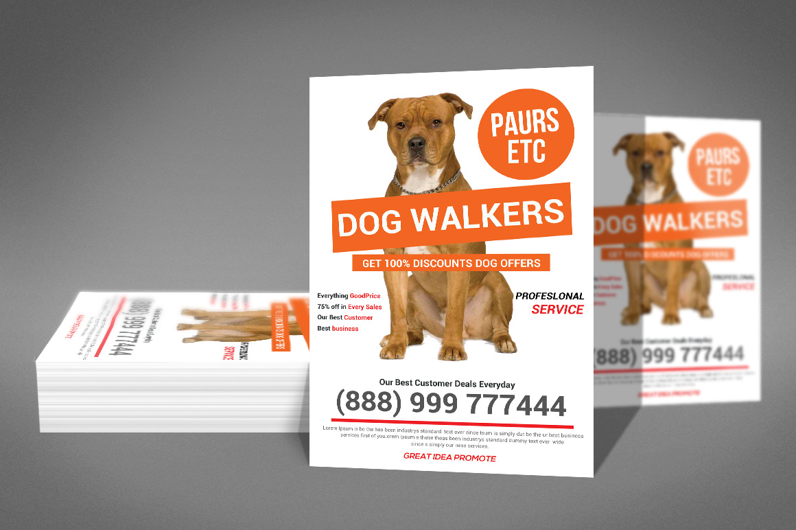 Pet Walker Flyer template by sanaimran | Design Bundles