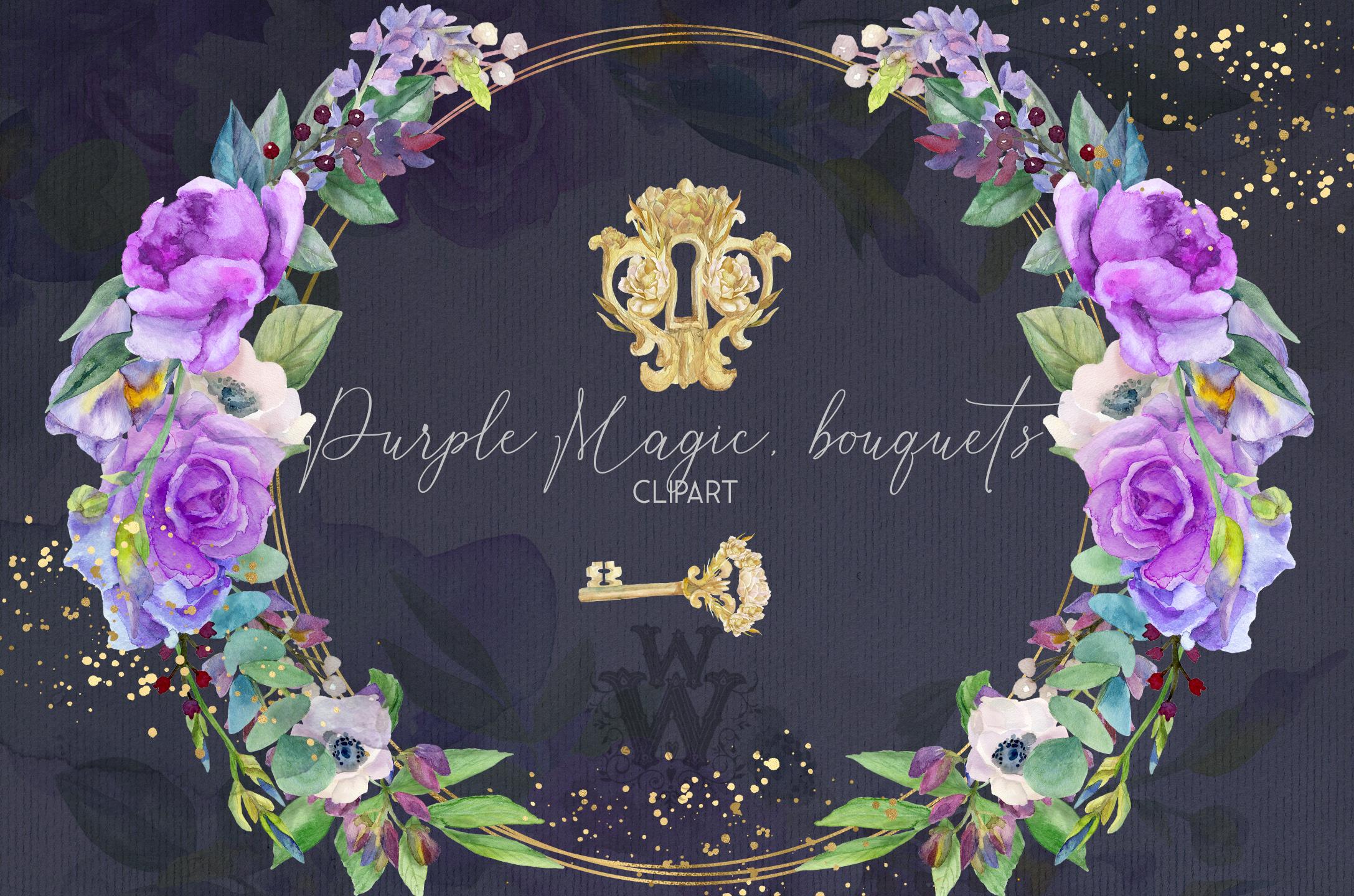 Watercolor purple bouquets clipart wedding arrangement example image 5