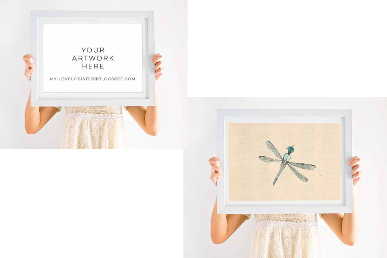 Simple wood frame mock up, Empty White Wooden Frame, White Wood Display Empty Frame, Simple Blank Empty Frames, Blank Frame Mockups example image 2
