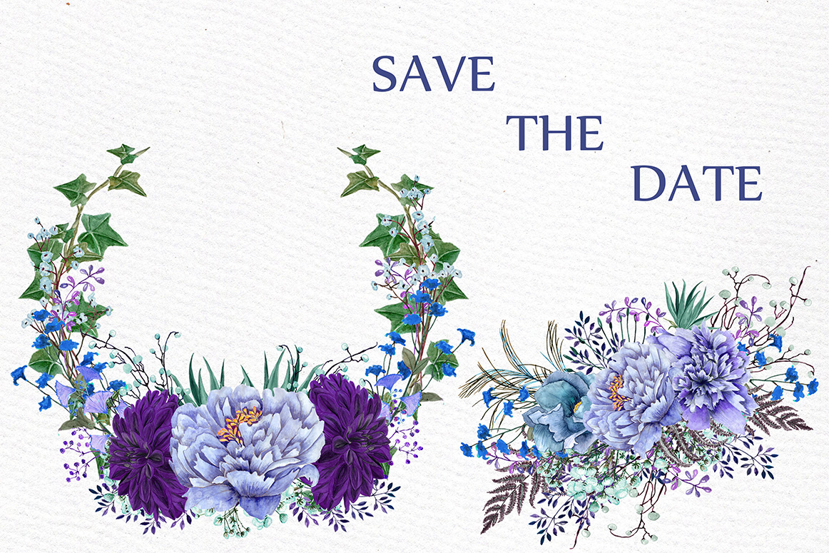 Watercolor Purple Wreaths Clipart example image 4