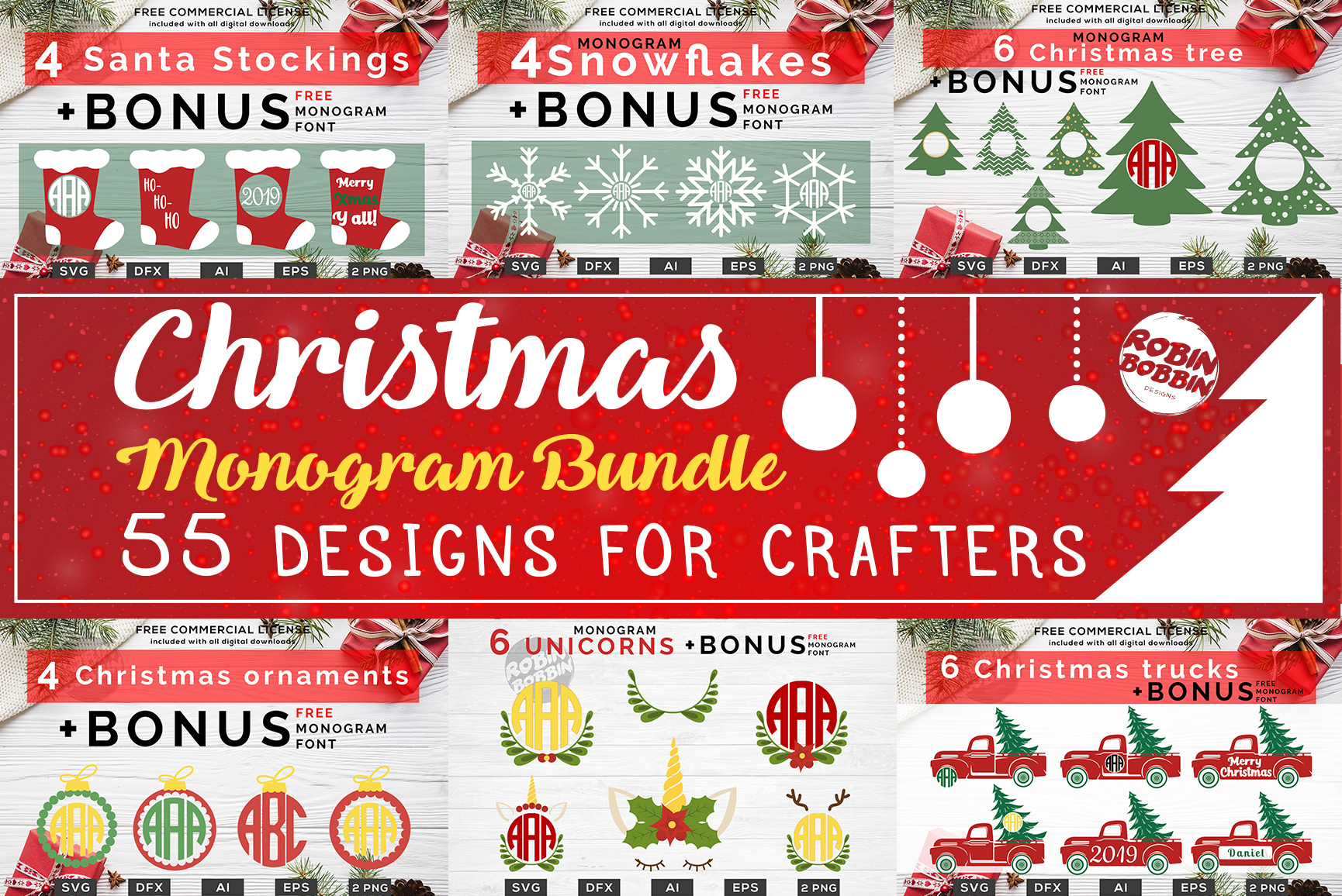 Christmas Monogram Bundle - 55 Designs For Crafters example image 1