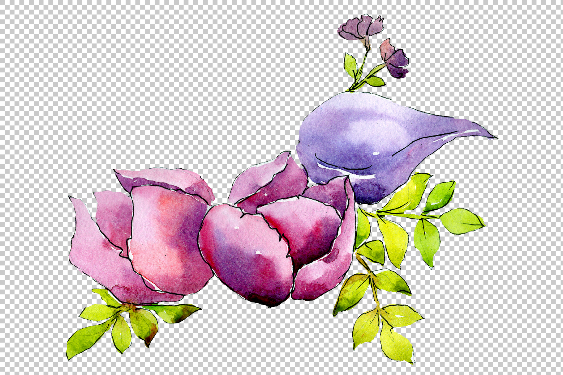Flower composition PNG watercolor set example image 5