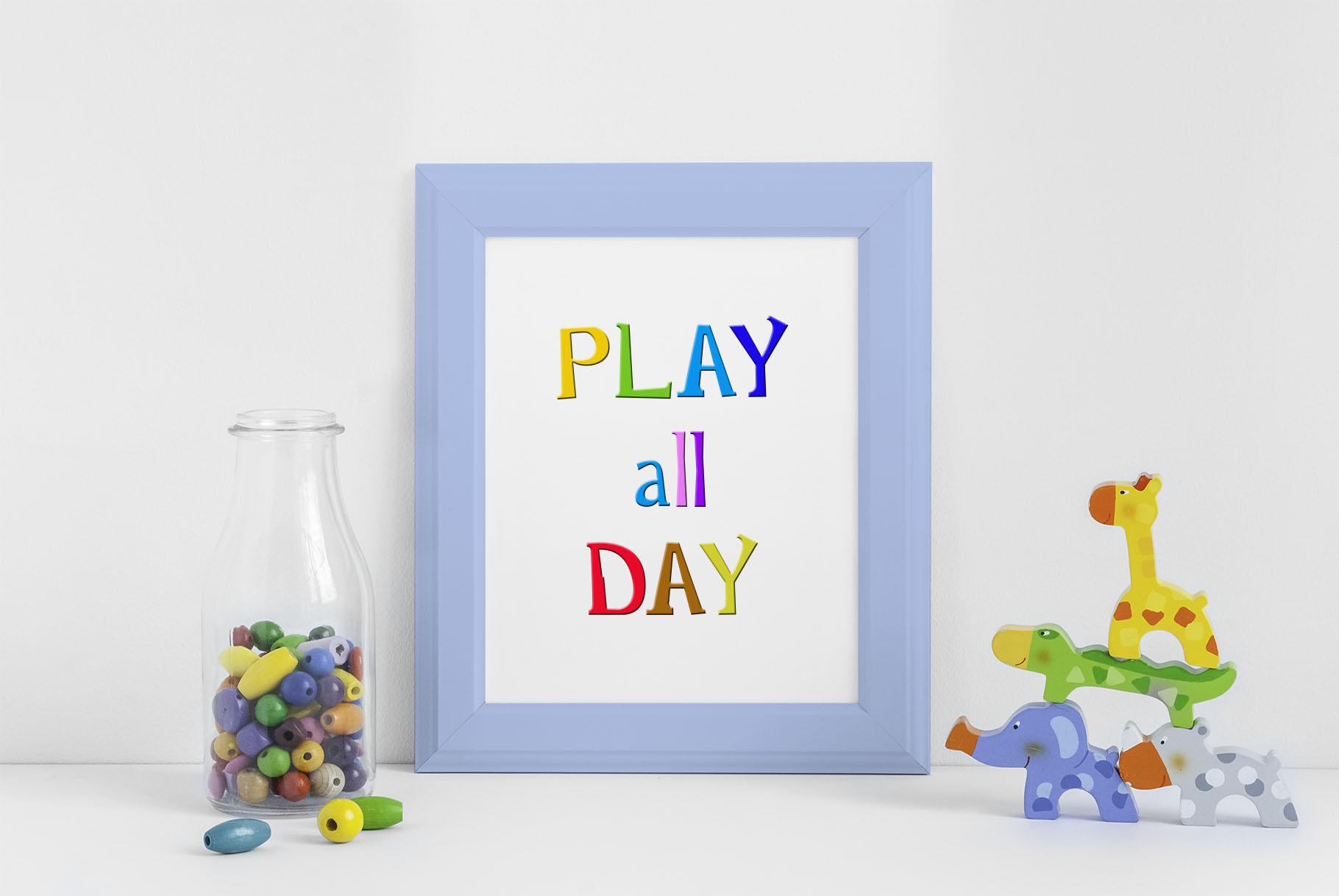 Rainbow Chalk fun kids font example image 11