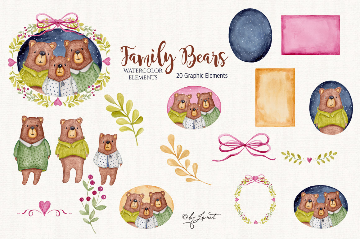 Family Bears illustration example image 2