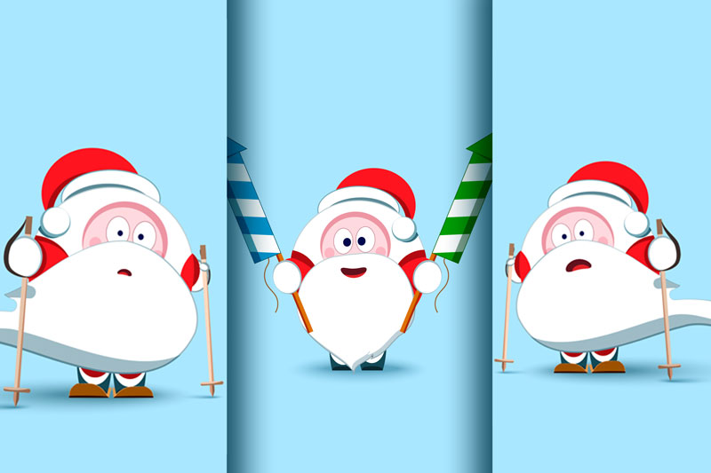 Santa Claus Christmas character set of 17 illustrations example image 5