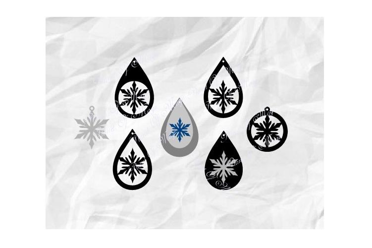 Snowflake Earrings Svg, Teardrop Earring Svg, Winter Earring example image 1