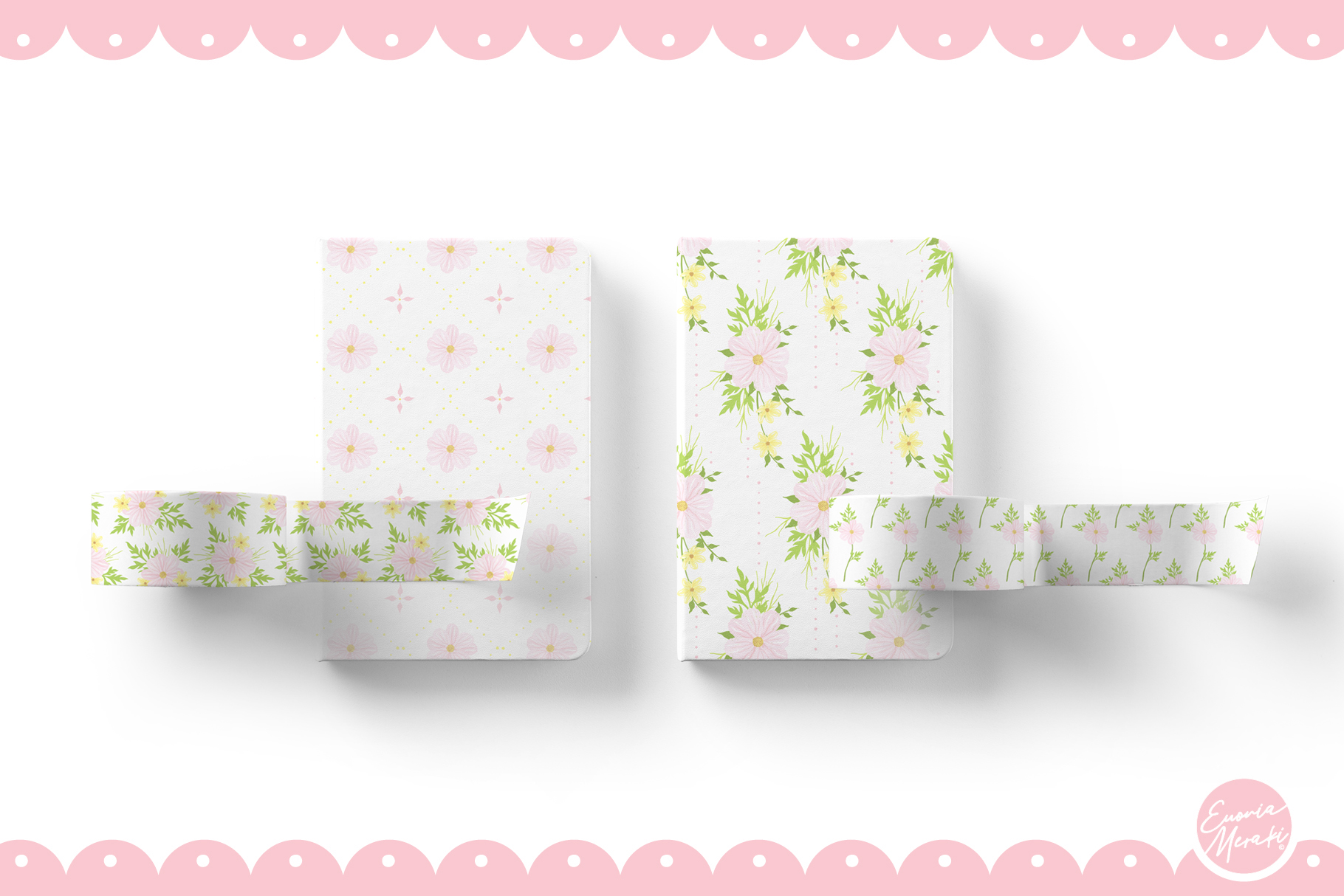 Pink Flower Seamless Patterns example image 3