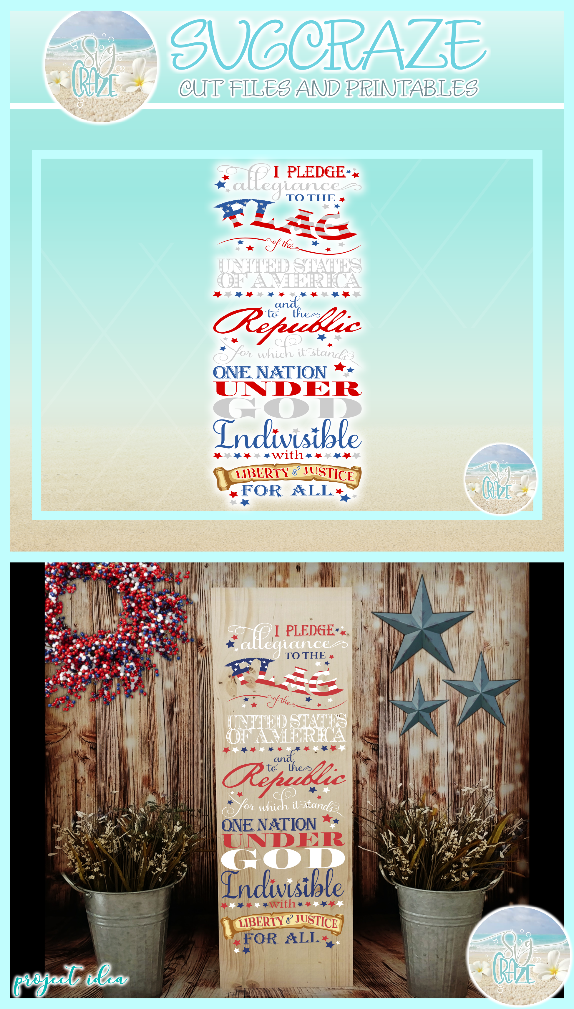 Pledge Of Allegiance Vertical Porch Sign Svg Dxf Eps Png Pdf example image 4