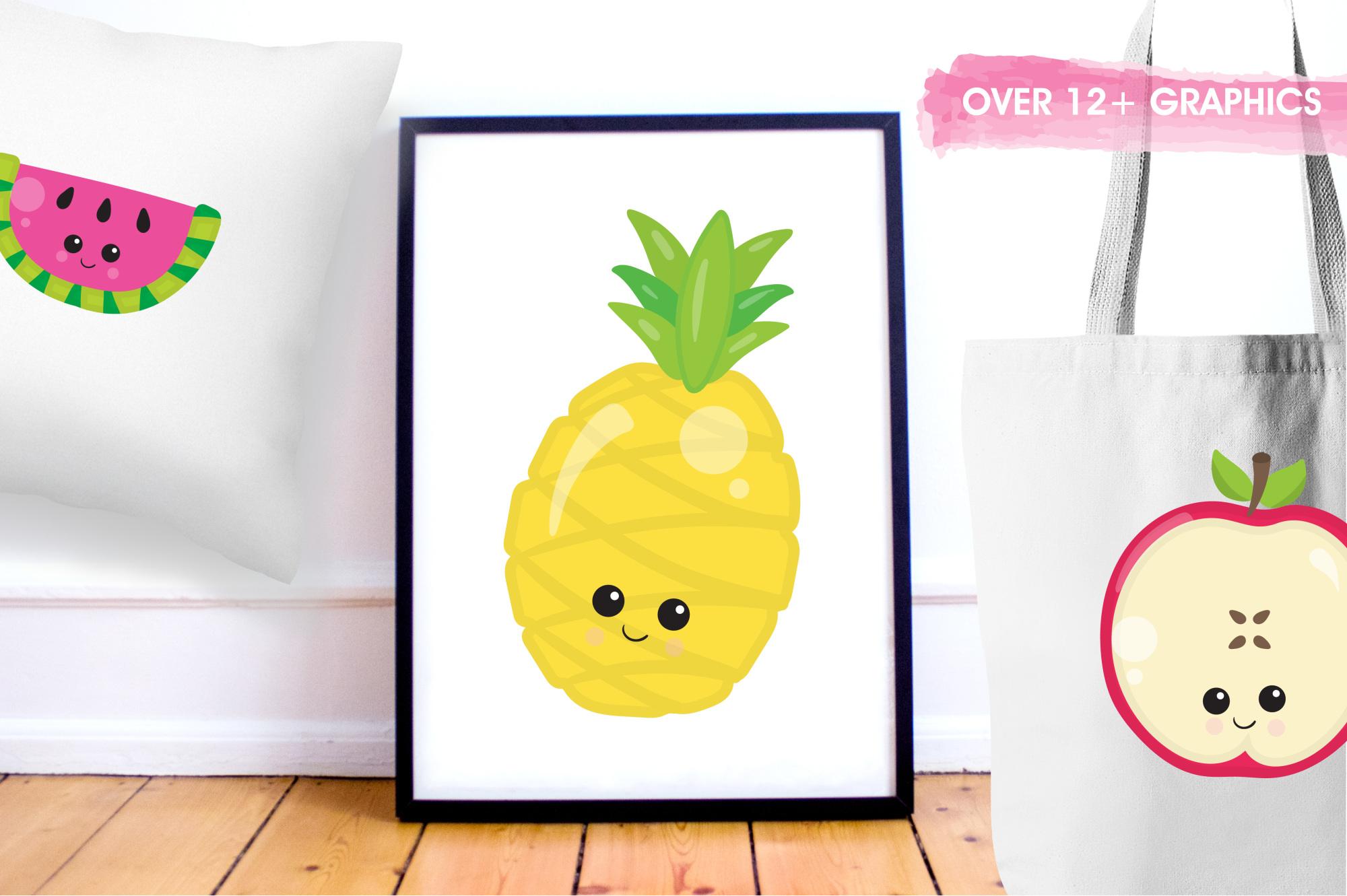 Kawaii Fruits  graphics and illustrations example image 5