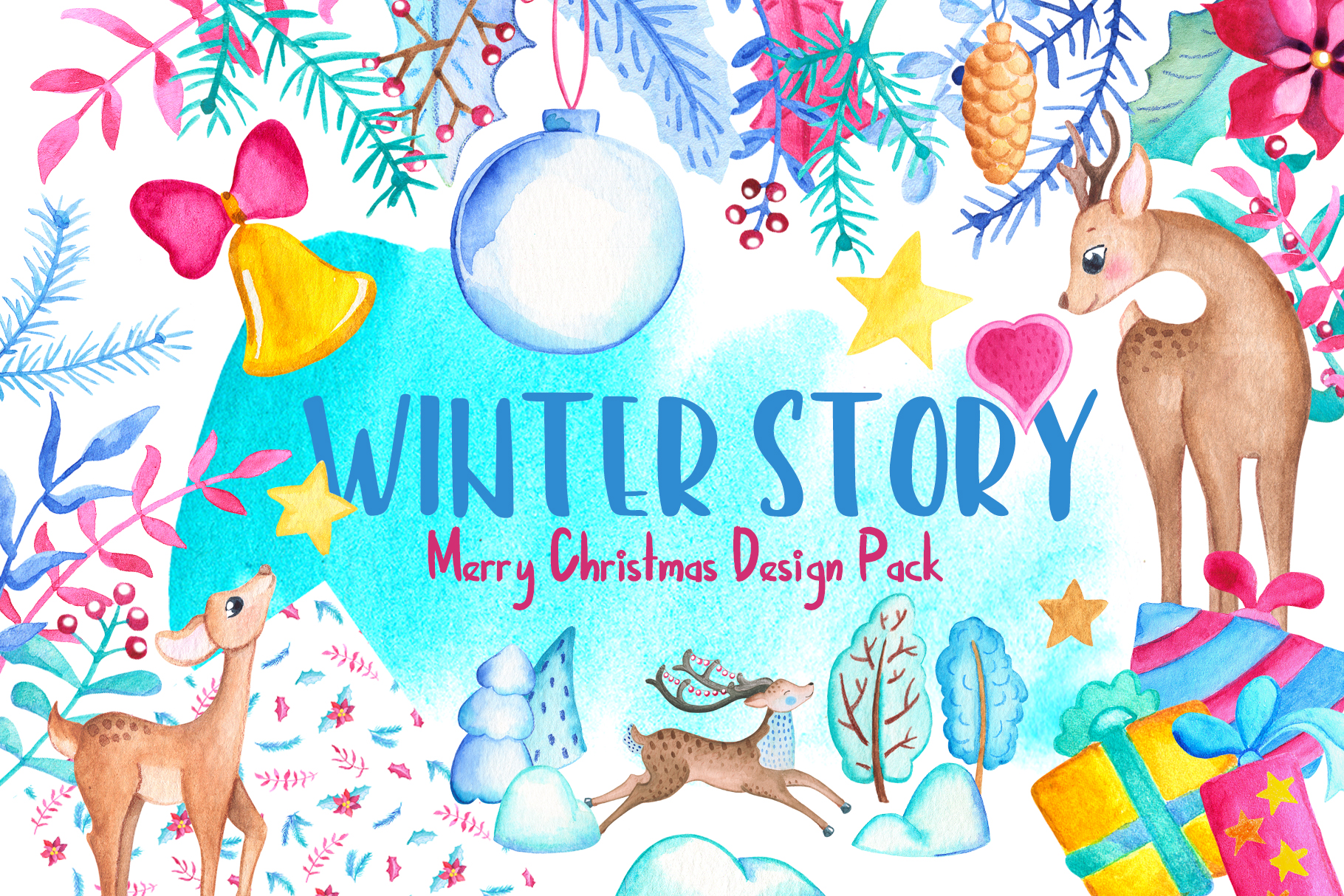 Watercolor Christmas Clipart And Seamless Patterns example image 1