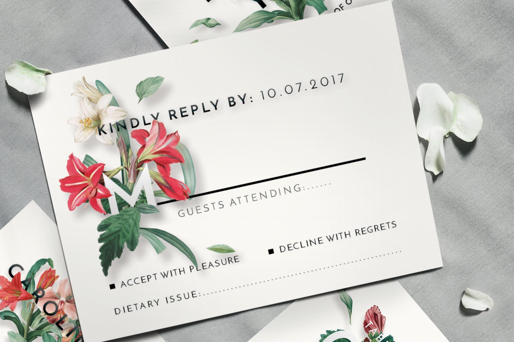 Modern Vintage Floral Wedding Invitation Suite example image 3