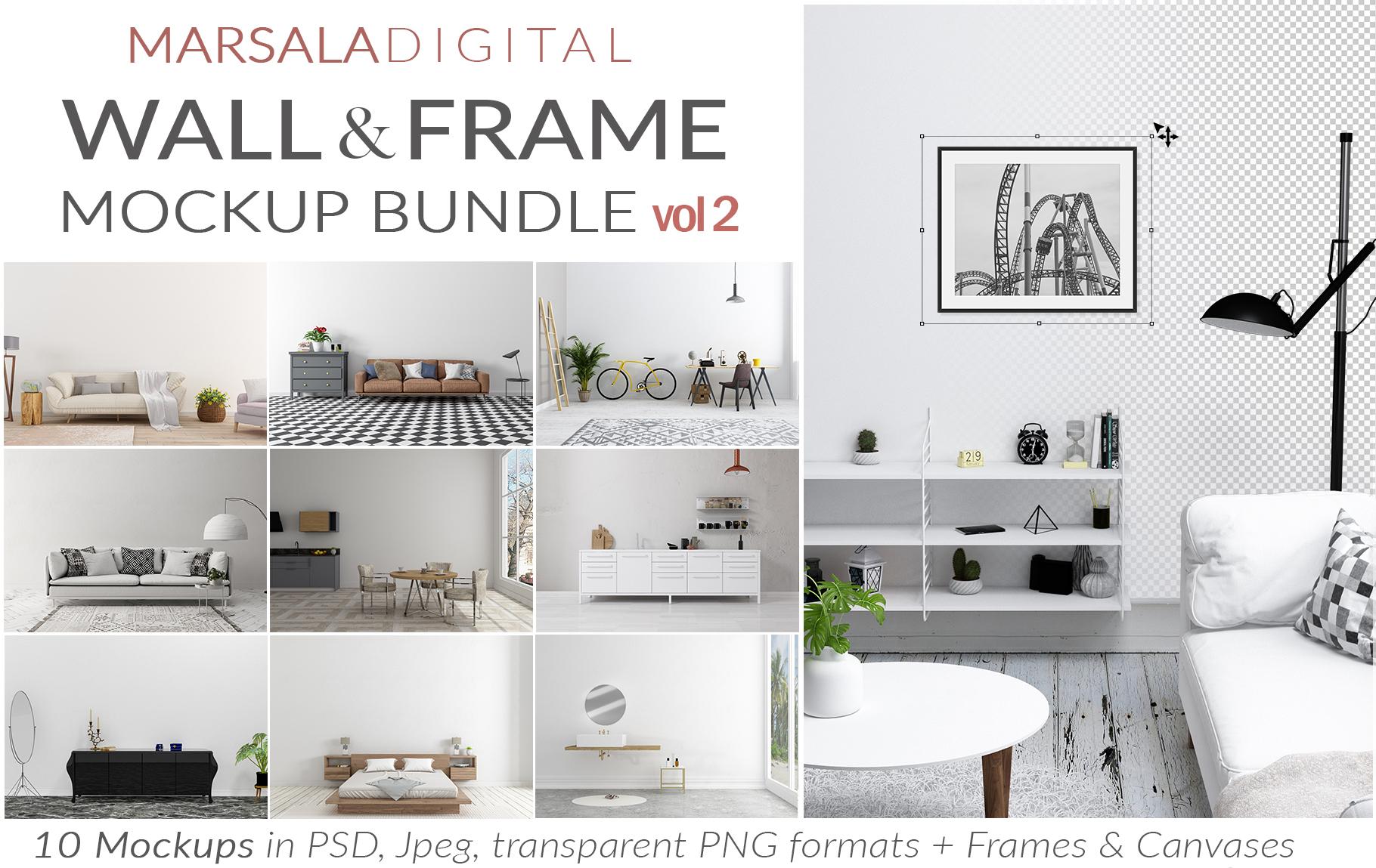 Massive Interior Wall Mockup, Frame Mockup Bundle FREE sampl example image 6