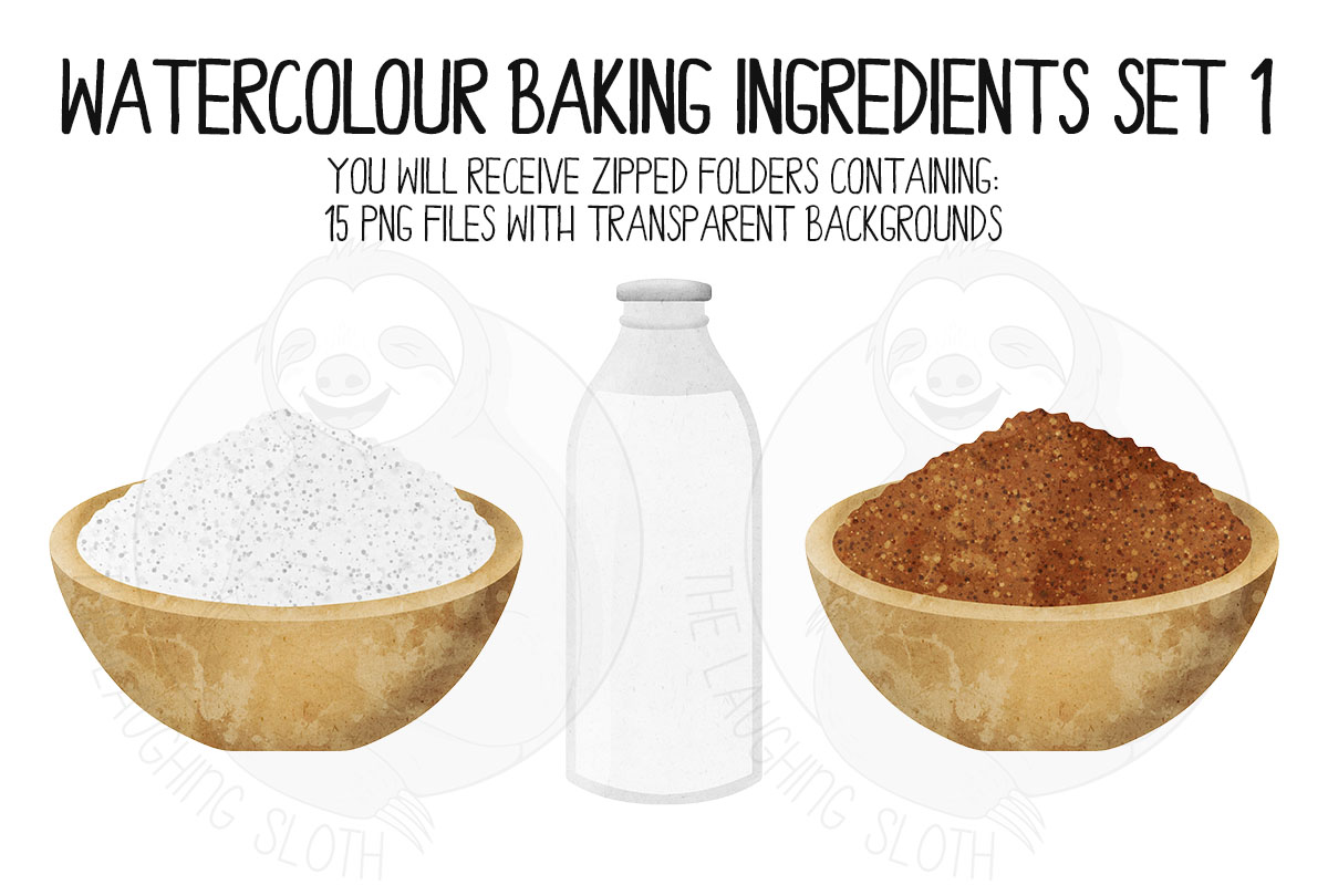 Watercolor Baking Ingredients Clip Art Set example image 3