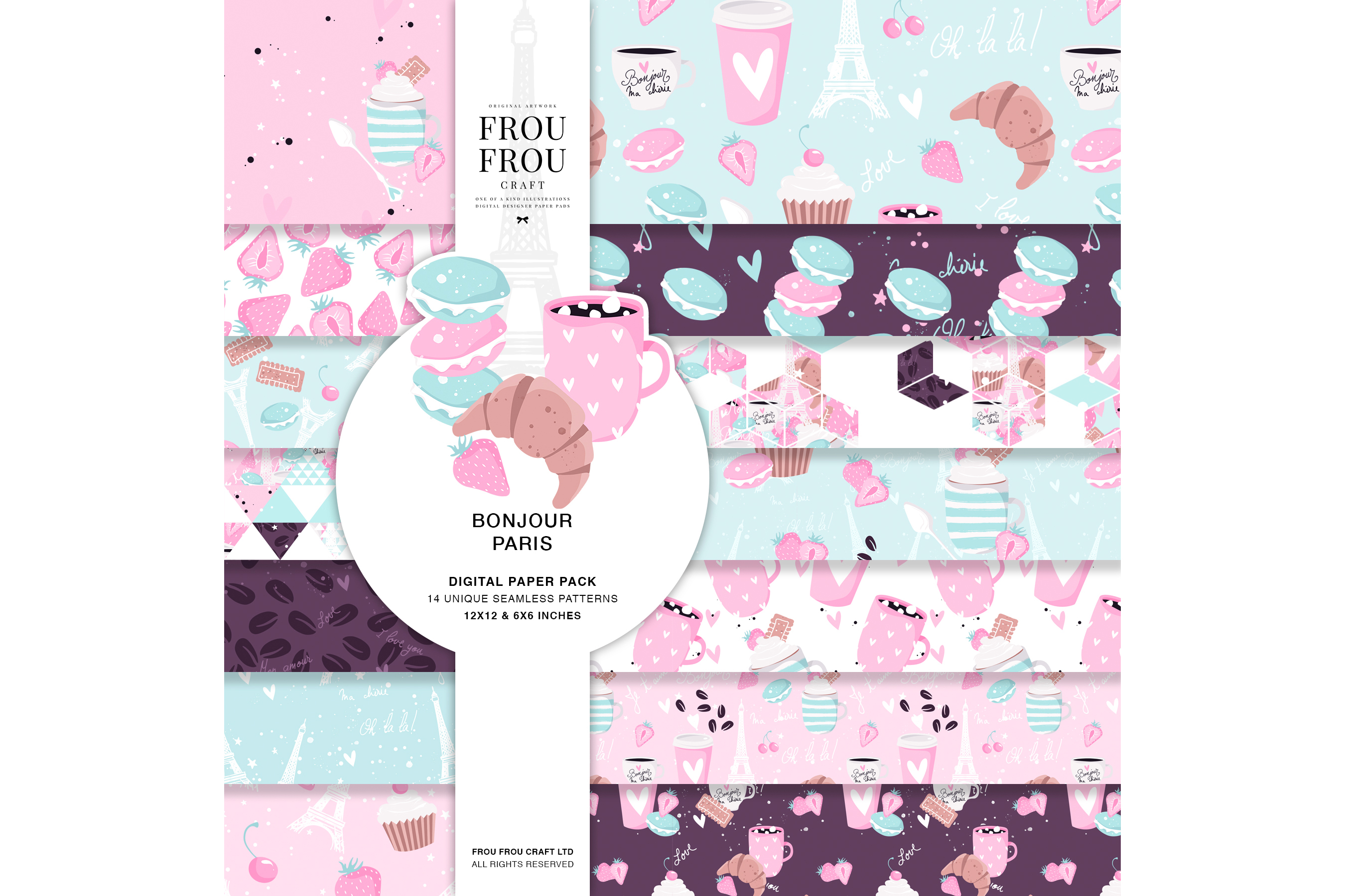 Paris Bakery Sweets Macaroons Cake Paper Pack example image 1