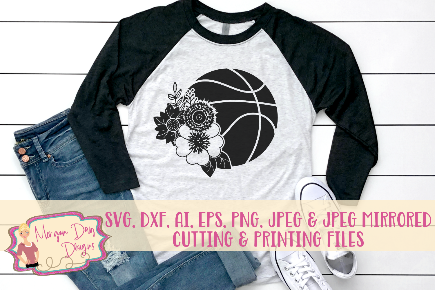 Floral Basketball SVG, DXF, AI, EPS, PNG, JPEG example image 1