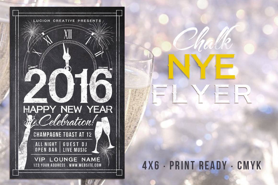 Chalk New Years Party Flyer example image 1