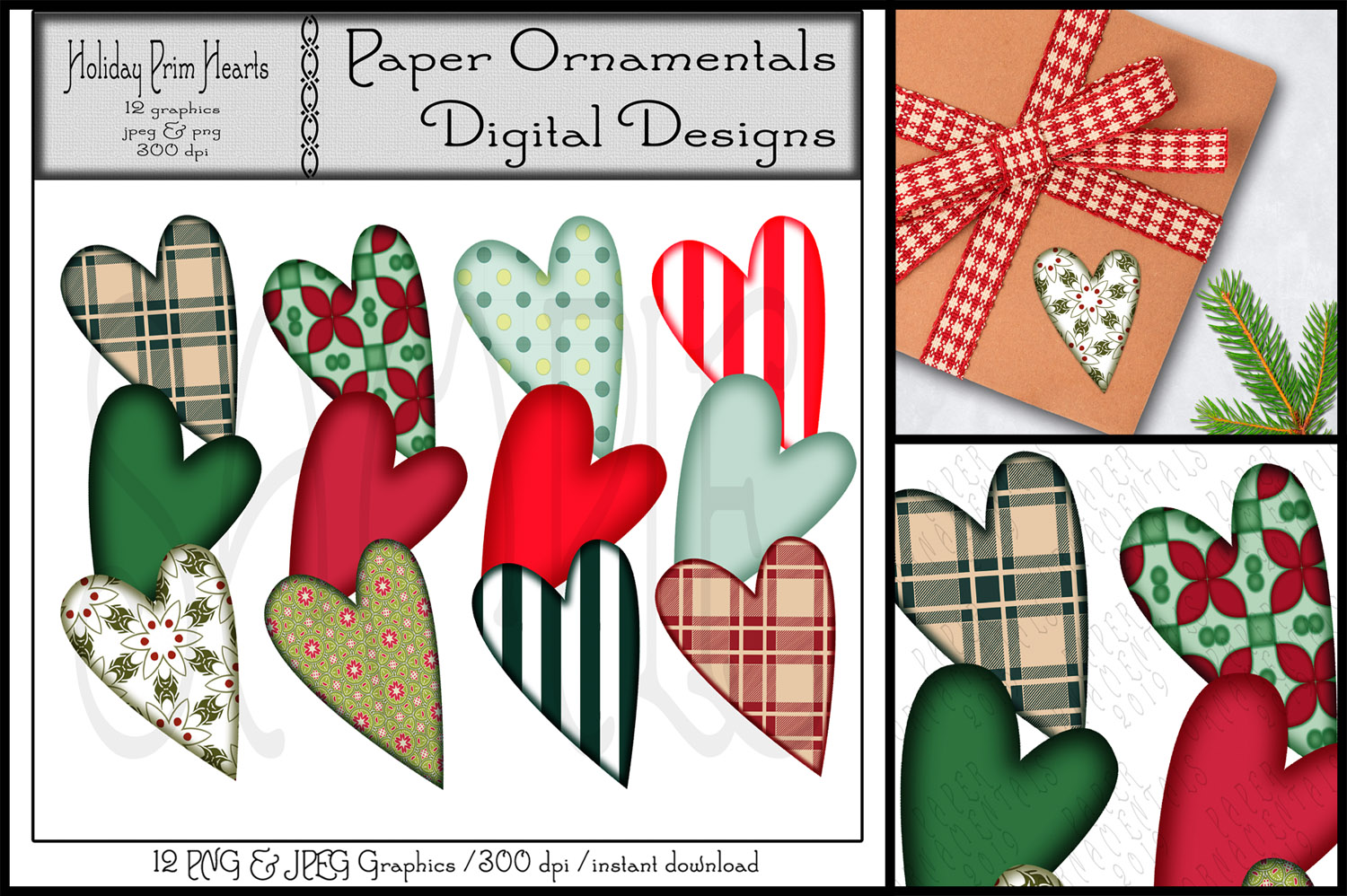 Christmas Clip Art, Holiday Primitive Hearts example image 1